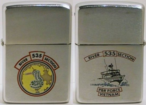 This is a two-sided factory-engraved 1968 Zippo for River Section 535 PBR Force Vietnam