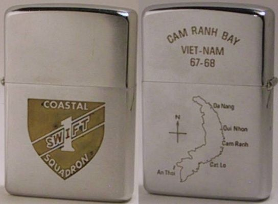 "1968 high-polish Zippo with a factory engraved logo for Swift 1 Coastal Squadron.  The reverse read ""Cam Ranh Bay Viet-Nam 67-68"" and has a map of Vietnam"