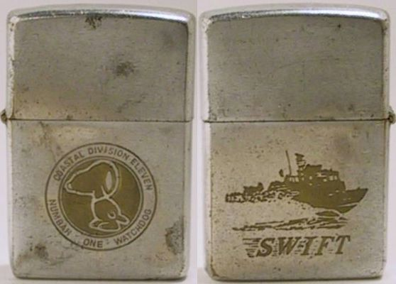 "1968 Zippo for Coastal Division 11 with Snoopy the ""Numbah One Watchdog"".  The reverse has an image of a Swift boat"