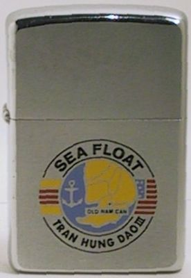 Sea Float was a floating naval support base which supported PBR's and other sea as well as aircraft.  It was turned over to the South Vietnamese Navy and renamed Tran Hung Dao III.  The Zippo is from 1969