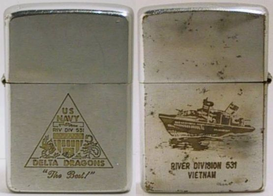 "1969 Zippo with the emblem of the US Navy Delta Dragons ""The Best"". The reverse is engraved with a PBR and ""River Div 531 Vietnam"