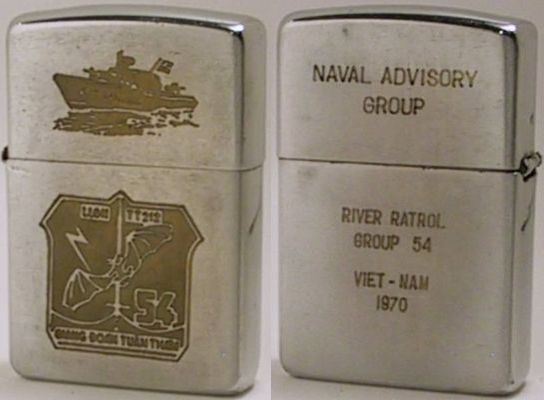 "1970 Zippo with factory-engraved image of a PBR and logo of the River Patrol Group 54, the command of which was turned over to the Vietnamese Navy in 1970.  The reverse reads ""Naval Advisory Group - River Patrol Group 54 Viet-Nam 1970"""