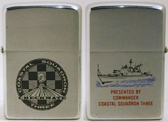 "The ""Checkmate"" logo is for Coastal Squadron Three, a squadron of Gun Boats established at Cam Ranh Bay in 1968.  The Zippo is dated 1970"