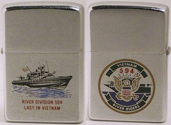"Here is a 1970 River Section 594 two-sided factory-engraved Zippo with the words ""Last in Vietnam"""