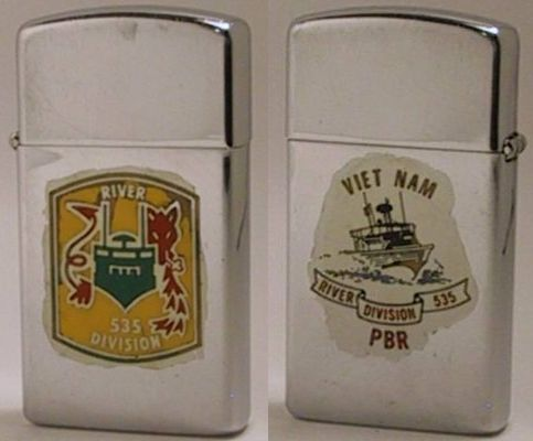 This factory-engraved images on 1970 slim Zippo for the 535 River Division have apparently been coated with a lacquer to keep the paint from chipping off