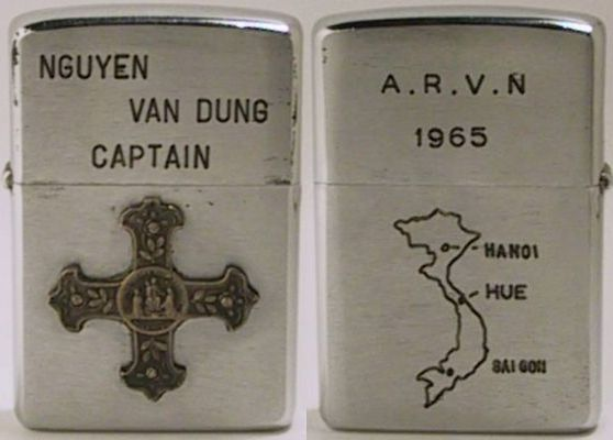 1963 Zippo with cross and map. Captain Nguyen Van Dung of the Army of the Republic of Vietnam. Map names the then capitals of North and South Vietnam, and Hue, the  ancient capital