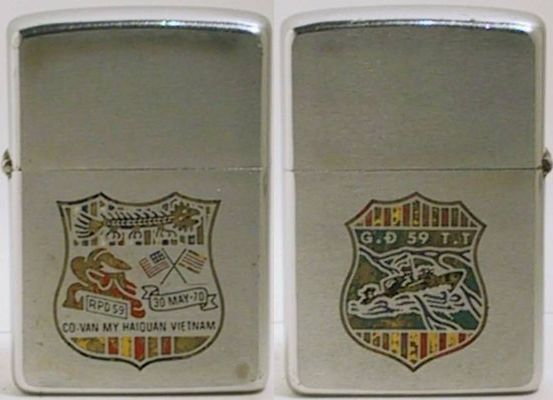 Colorful two-sided factory-engraved 1970 Zippo for an RVN Riverine Unit followingthe Vietnamization of the Brown-Water Navy