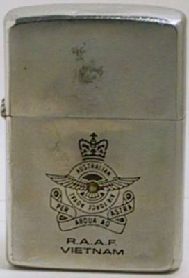 US and RVN Allies in Vietnam included Australian armed forces.  This is a 1966 Zippo for R.A.A.F., or Royal Australian  Air Force in Vietnam