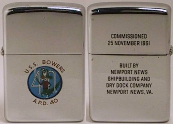 """1962 T&C Zippo for USS Enterprise, the longest, tallest, and mightiest warship to ever sail the seas. The reverse reads """"Built by Newport News Shipbuilding and Dry Dock Company Newport News, VA"""""""