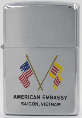 1969 Zippo for the American Embassy in Saigon, Vietnam with the crossed American and South Vietnamese flags