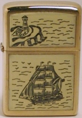 1977 limited production Scrimshaw Zippo with The Schooner design on genuine ivory attached to a gold-plated case. The reverse is also made of ivory but was not engraved