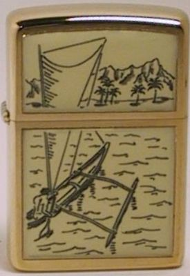 This scrimshaw design on genuine ivory is the Outrigger and is also dated 1977