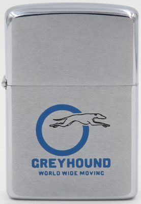 1971 Zippo advertsing Greyhound Worldwide Moving. The Company with its distinctive greyhound logo is best known for its bus carrier services