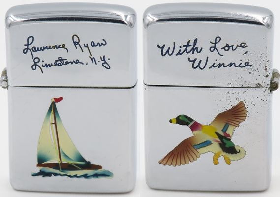"Rare 1946-49 Zippo with Town & Country engravings on both sides.  One side has the sloop with ""Lawrence Ryan Limestone, N.Y."" on one side and the mallard and ""With Love, Winnie"" on the other.   The ""Sloop"" and the ""Mallard"" designs are two of the first of   eight   Town & Country production models"