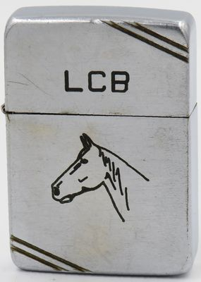"Line drawn Sports Series ""Horse"" on a 1940-41 Zippo.  Also has the initials ""LCB"" on the lid"