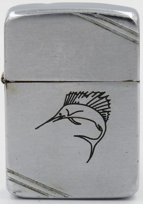 "Line drawn Sports Series ""Sail Fish"" on   a 1940-41 Zippo."