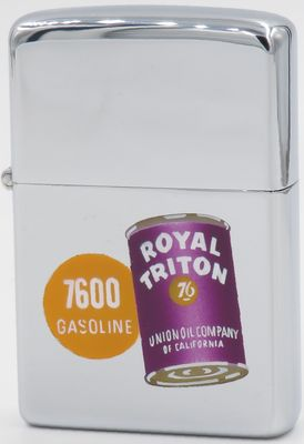 1955 Town & Country Zippo with the image of a Royal Triton oil can for Union Oil Company of California