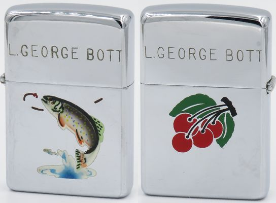 "1949 Zippo with a Town & Country trout on one side, and an engraving of a bunch of cherries on the other.  The name ""L George Bott"" has been engraved on both sides of the lid.  The ""Trout"" is  one of the first of   eight   Town & Country production models"