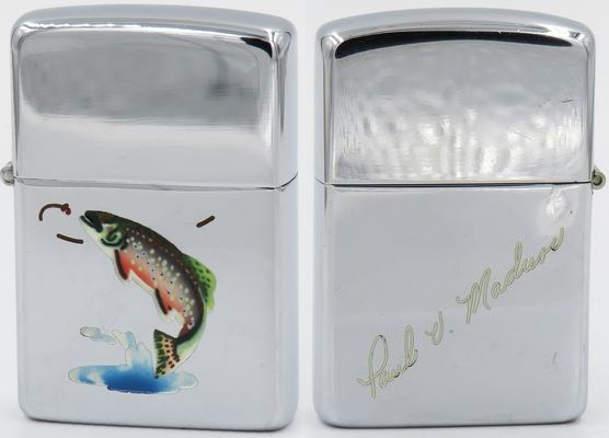 "1949 Town & Country Zippo with Trout and the signature of ""Paul V Madusc (?)"" on the reverse"