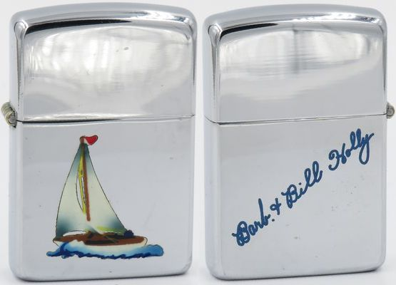"1949-50 Zippo Town & Country Sloop,  ""Barb & Bill Holly"" engraved on the reverse"