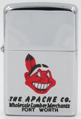 1959-60 Town and Country Zippo for The Apache Co. of Fort Worth.  The graphic is that of Chief Wahoo, the somewhat controversial logo of the Cleveland Indians, the major league baseball team based in Cleveland Ohio