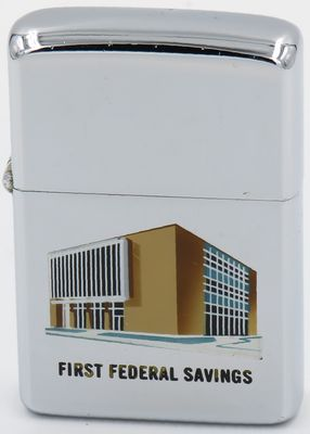 1962 Town & Country Zippo with a graphic of the First Federal Savings building