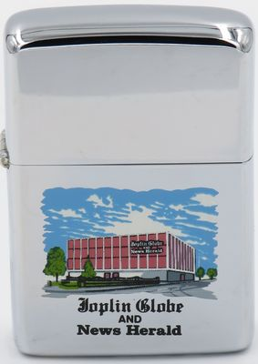 1968 transitional Town & Country Zippo with a graphic of the Joplin Globe News & Herald building