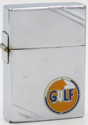 1934 outside hinge Metallique Zippo for Gulf Oil. Paint missing on logo