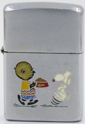 Rare 1969 Zippo with Charlie Brown feeding an excited Snoopy