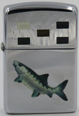 1953 Town & Country Zippo with engraving of a fish on the case,  Five rectangles in different colors engraved on the lid.