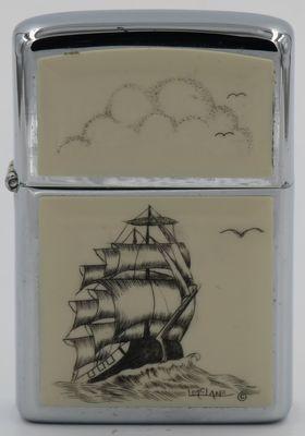 1980 Zippo with a three-mast sailing ship scrimshawed by Lois McLane