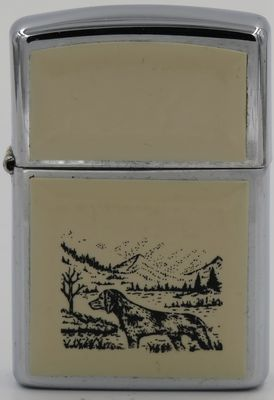 1991 Scrimshaw Zippo with the design of a hunting dog in the hills