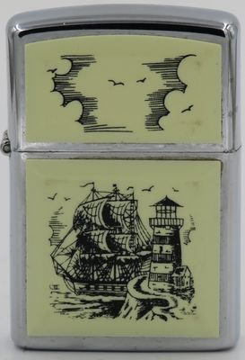 1992 Scrimshaw Zippo with the Tall Ship & Lighthouse design