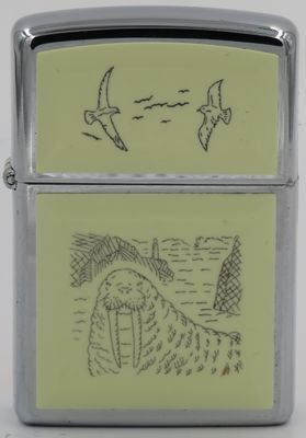 1993 Scrimshaw Zippo with a walrus and birds
