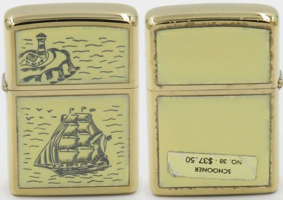 1977 Scrimshaw Zippo with the Schooner design. The $37.50 price tag attached to the reverse shows it as Model No. 38.