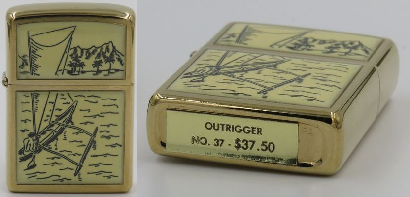 """1977 scrimshaw Outrigger Zippo with a """"No 37 $37.50"""" gold foil price tag attached to the bottom"""