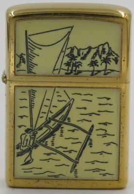 Outrigger scrimshaw prototype on Zippo case dated 1973. The insert is dated 1977 so it is likely that the artwork was applied in 1976-77 on an older Zippo case.