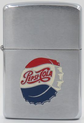 1960 Zippo with a Pepsi Cola bottle cap. The popular soft drink was created in 1893 and introduced as Brad's Drink, was renamed as Pepsi-Cola on August 28, 1898, and then as Pepsi in 1961