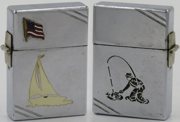 """1935 model Zippo with a repaired outside hinge. It has a small American flag and an engraved Town & Country sloop on one side, and a fisherman graphic on the other. This rare lighter also appears in David Poore's """"Zippo The Great American Lighter"""" and is described as a salesman's sample. Since both the sloop and fisherman designs did not appear until the mid to late 1940's, seeing them engraved on a 1935 model Zippo is most unusual"""