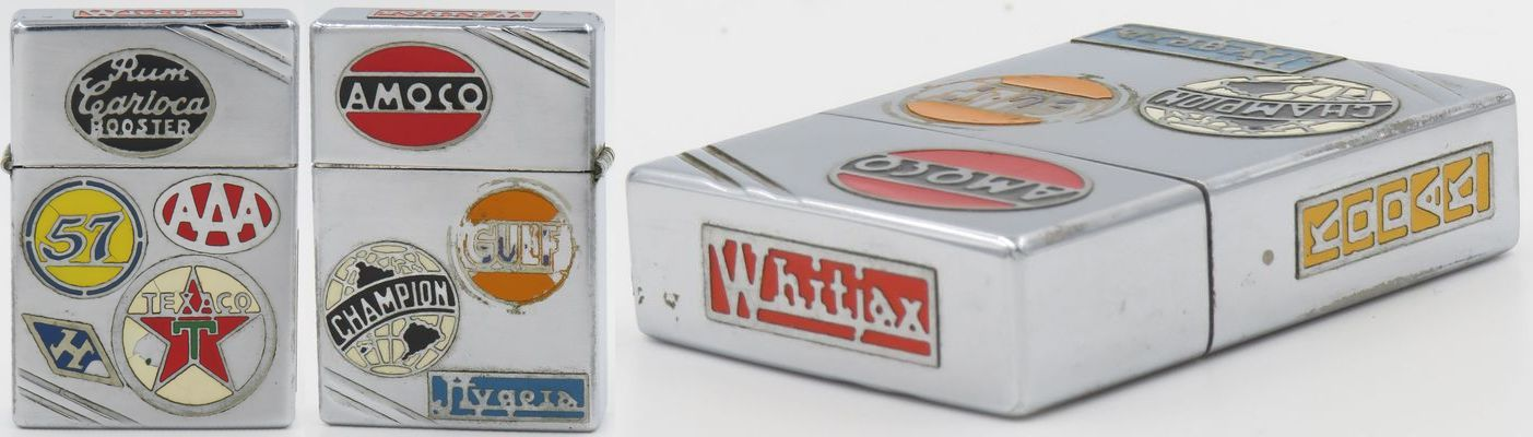 1936 Zippo lighter with a total of eleven advertiser metalliques have been attached and painted. The logo and emblems are Rum Carioka Booster, Heinz 57, AAA, H for Hilton hotels, Texaco, Amoco, Gulf, Champion, Hygeria, Whitjax, and Kodak. Zippos with single advertiser metalliques are rare, let alone one with eleven.