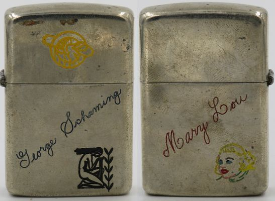 1946 Zippo with the name of Zippo employee George Schaming and two unidentified logos on the front, and a graphic of Betty Lou Fox that was married to George in Bradford in 1947