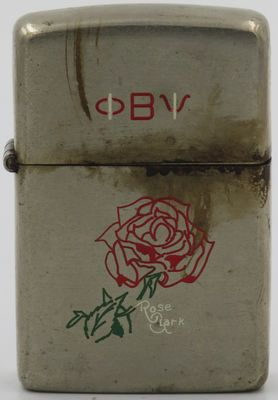 1946-49 Zippo with a rose for Rose Clark. The Zippo was engraved by Jack Clark, Zippo artist, for his wife Rose. The Greek initials Phi Beta Psi are those of a charitable sorority of which Rose was probably a member