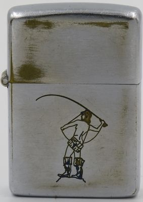 Funny 1946-49 Zippo with a line-drawn female fisherman nude but for wading boots. The design is somewhat similar to the fisherman with pipe design