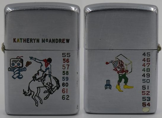 """1949-50 test model Zippo with a cowboy on a bucking bronco, a TV man (?) and the name """"Katheryn McAndrew"""" engraved on the front, Rocky the Elf and a tiny chair on the back. Notice the font size on some of the numbers vary"""