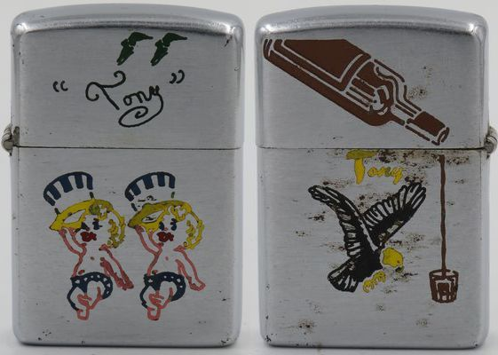 """1953 test model Zippo with New Years dancing babies and """"Tony"""" engraved on the front, a shot pouring liquor bottle and a bald eagle on the back"""
