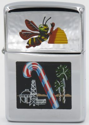 1959 Zippo with multiple Town & Country engravings, including a bee and its beehive, a candy cane and more