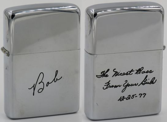 1976 Zippo for Bob Holsinger, plant manager at Zippo and the nicest boss from his girls for Christmas 1977
