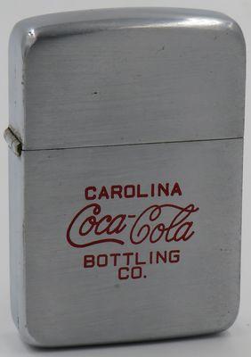 1938-39 Zippo for the Carolina Coca-Cola Bottling Company.