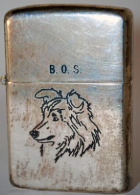 "1953 toned Sterling silver Zippo with engraved collie and ""B.O.S."" on lid"