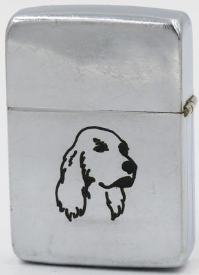 1938 high-polish Zippo with line-drawn cocker spaniel design